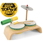 Green Tones Beginner Drum Set With 2 Drums, Wood Block, Guiro Scraper & Cymbal 3750