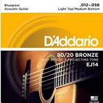 "D""Addario EJ14 80/20 Bronze Bluegrass Acoustic Guitar Strings, Light Top/ Med. Bottom .012-.056"