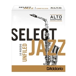 D'Addario Select Jazz Unfiled Alto Sax Reeds 2 Hard 10 Pack RRS10ASX2H