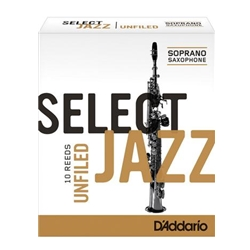 D'Addario Select Jazz Unfiled Soprano Sax Reeds 3 Medium 10 Pack RRS10SSX3M