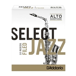 D'Addario Select Jazz Filed Alto Sax Reeds 3 Hard 10 Pack RSF10ASX3H