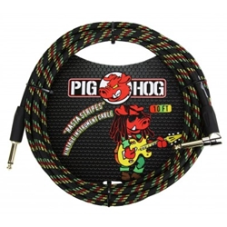 Pig Hog 10ft Right Angle Instrument Cable Rasta Stripes PCH10RAR