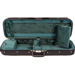 Bobelock 4/4 Violin Case, Wood Shell, Black with Blue Interior B1002L