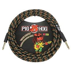 "Pig Hog ""Rasta Stripes"" 20' Vintage Series Instrument Cable PCH20RA"