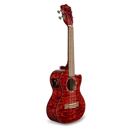 Lanikai Quilted Maple Red Cutaway Electric Tenor Ukulele W/Bag QM-RDCET