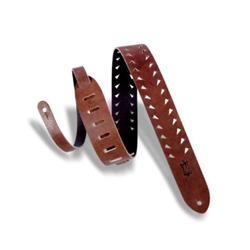 Levy's Classics Series Tiger Tooth Punch-Out Premier Guitar Strap, Brown M12TTV-BRN