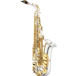 Jupiter Alto Saxophone, Silver-Plater Body, Gold Lacquered Keys JAS1100SG